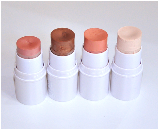 e.l.f. All Over Color Sticks Persimmon, Toasted, Spotlight, Golden Peach Recension, Swatches, Produktbilder