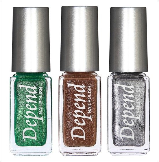depend-2011-sparkling-colours-green-brown-ginger-silver 289: Grön 290: Brun 291: Silvergrå