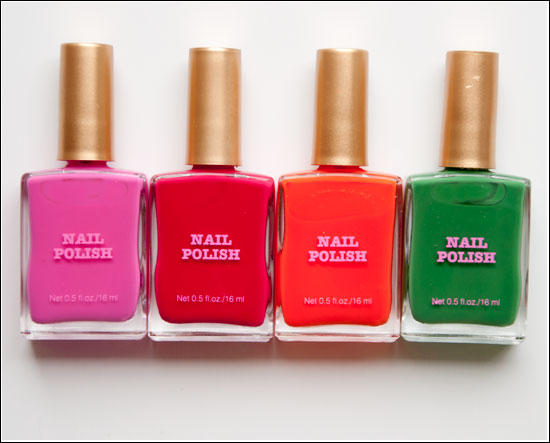 H&M Nail Polish City Pink, Pink Road, Orange Lane, Green Street