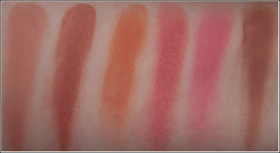 La Femme Cosmetics Adobe, Heather, Naturelle, Peach Sparkle, Scarlet, Soft Beige Blush On Rouge Swatches & Bilder