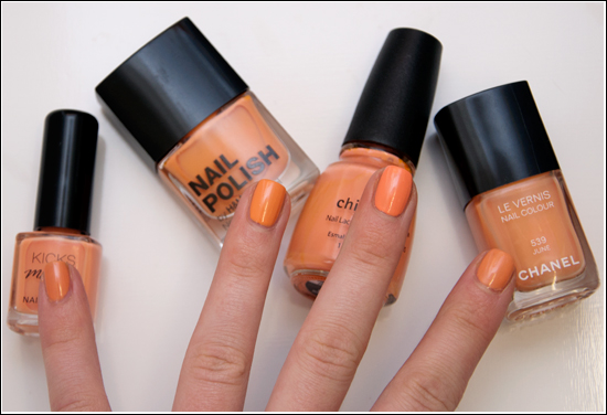 Chanel June, China Glaze Peachy Keen, H&M Peach Me Soon, KICKS Chilly Bellini Swatches & Comparison