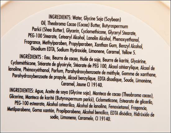 The Body Shop Cocoa Butter Body Butter Ingredients / Ingredienser