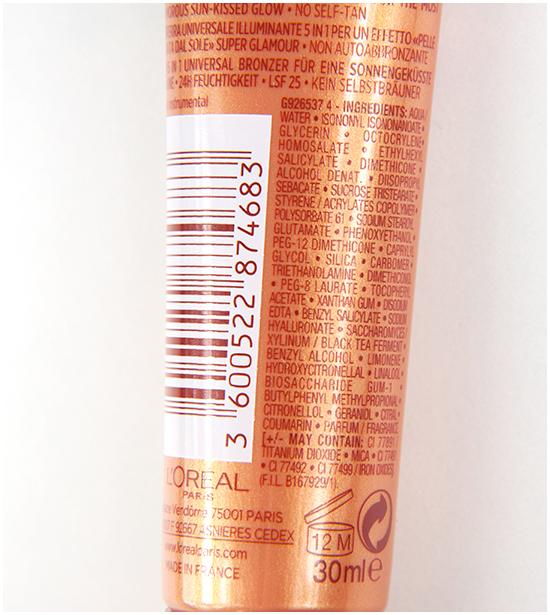 Loreal-Glam-Bronze-GG-Cream-Ingredients