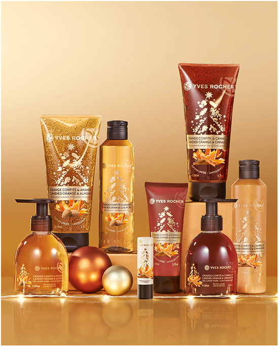 Yves Rocher Candied Orange & Almond, Candied Orange & Cinnamon och Spicy Vanilla