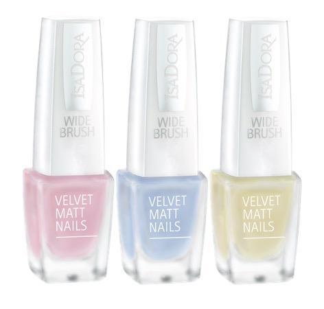 IsaDora-829-Pink-Sugar-830-Blue-Cloud-831-Spring-Light-Velvet-Matt-Nails