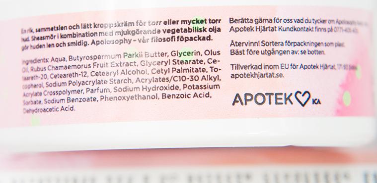 Apolosophy Delicious Raspberry Sweet Rhubarb Velvet Body Cream Ingredienser