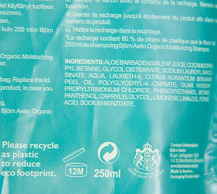 Bjorn Axen Refill Organic Moisturizing Gentle Shampoo Ingredients