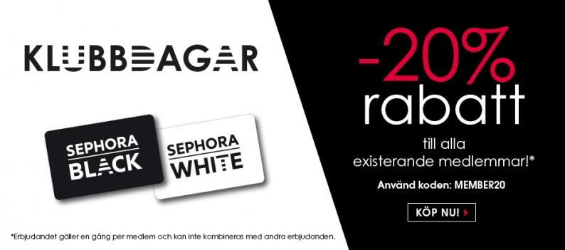 Just nu 20% rabatt till alla medlemmar hos Sephora!
