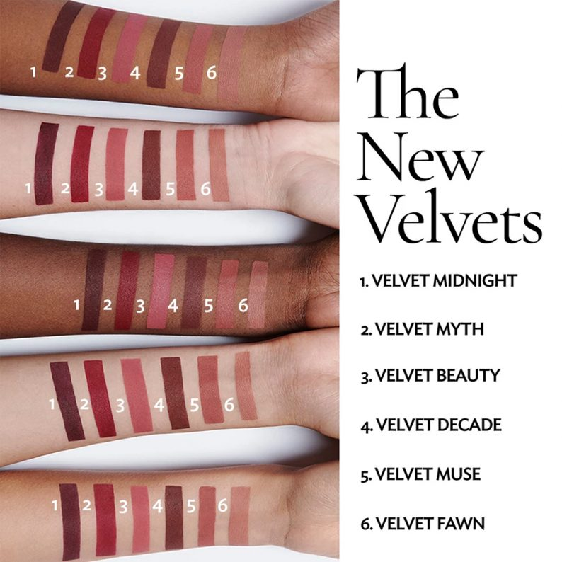Lisa Eldridge The New Velvets Swatches on different skintones