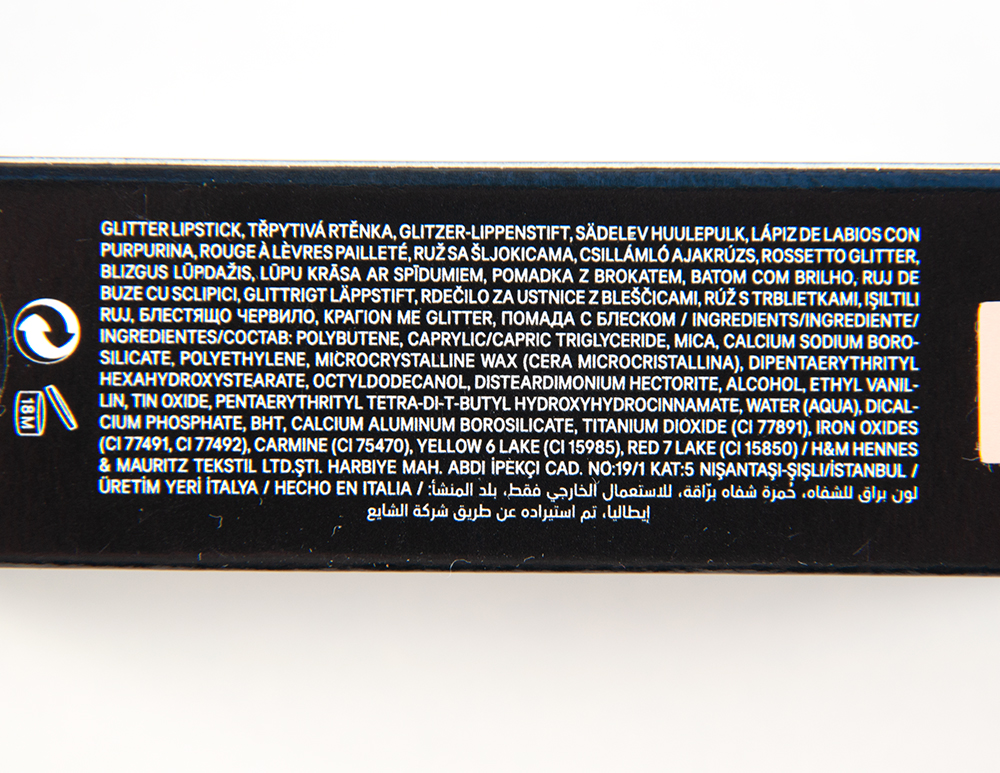 H&M Sweet Nothings Glitter Lip Colour Ingredients