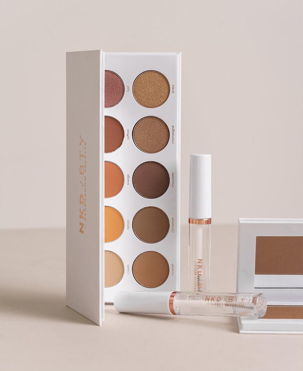 NAKD Beauty NKD / BTY Warm Eyeshadow Palette, Medium Matte Bronzer, Clear Eyebrow Gel