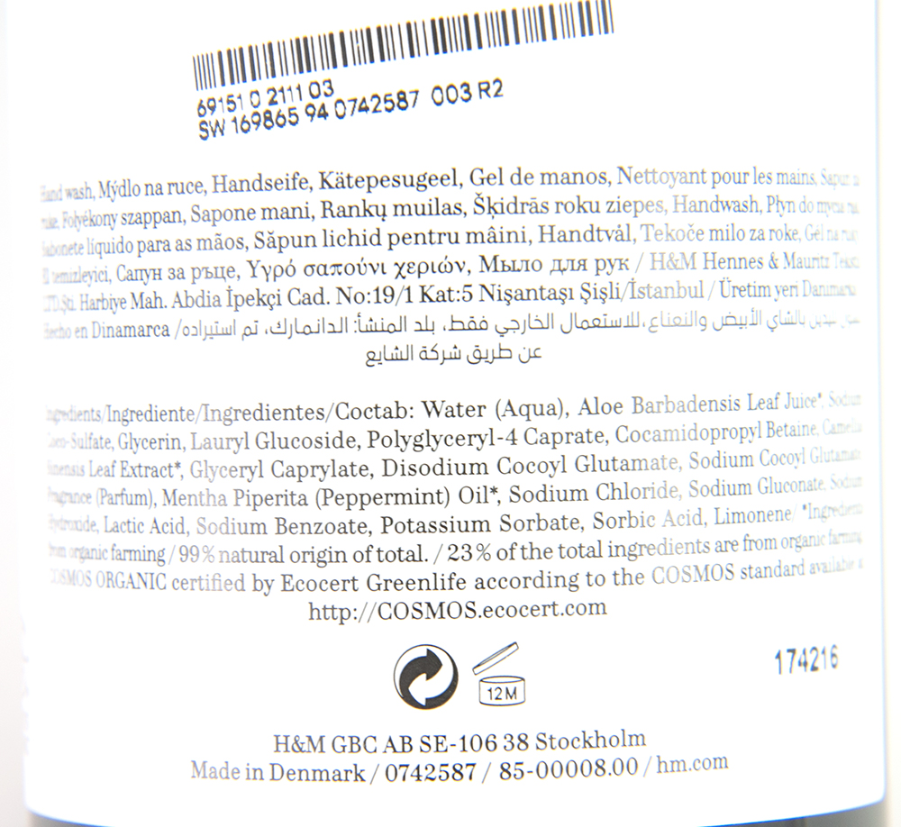 H&M Conscious Hand Wash White Tea & Peppermint Ingredients