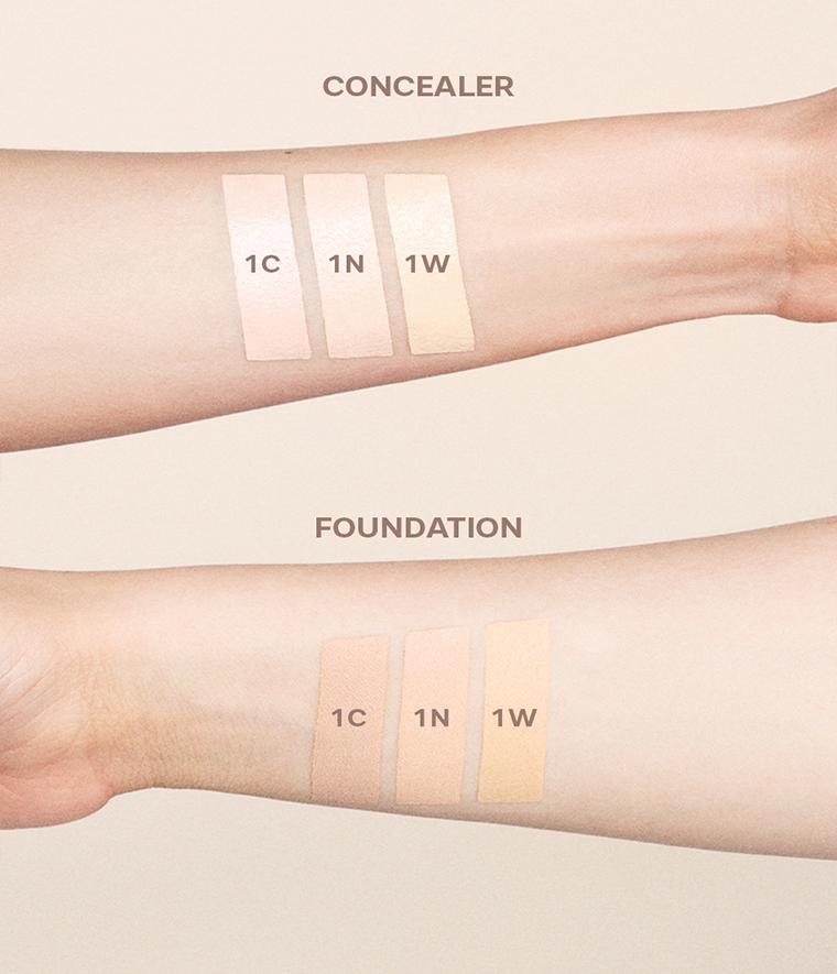 CAIA It's Iconic Foundation & Concealer Swatches 1C 1N 1W