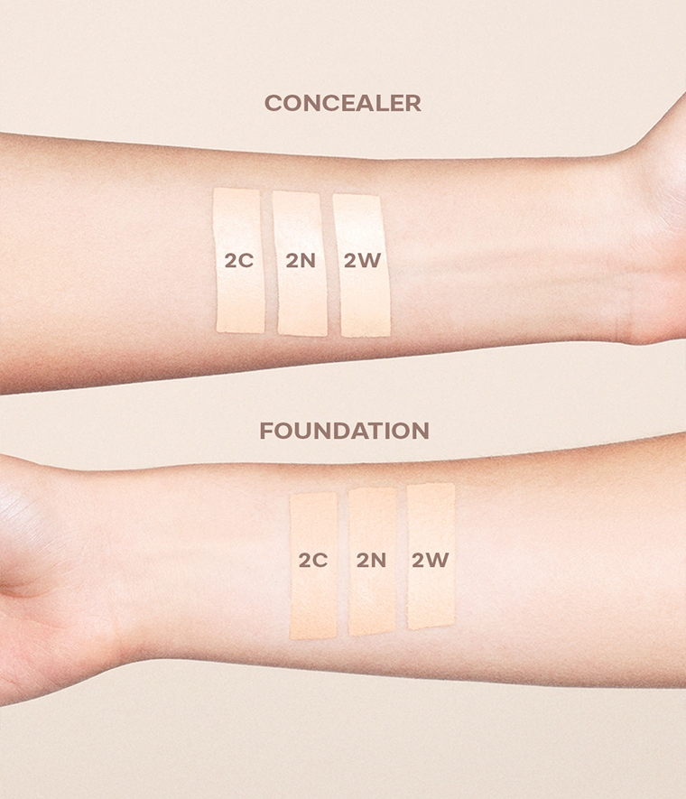 CAIA It's Iconic Foundation & Concealer Swatches 2C 2N 2W