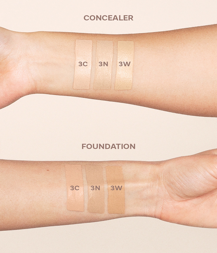 CAIA It's Iconic Foundation & Concealer Swatches 3C 3N 3W