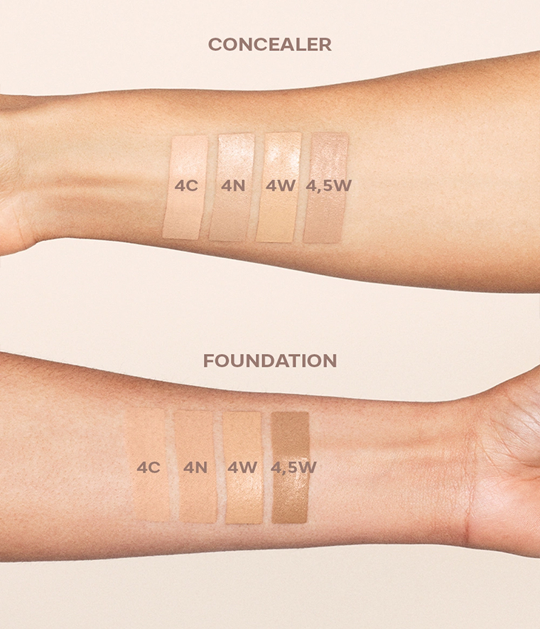 CAIA It's Iconic Foundation & Concealer Swatches 4C 4N 4W 4.5W