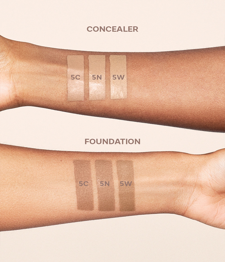CAIA It's Iconic Foundation & Concealer Swatches 5C 5N 5W