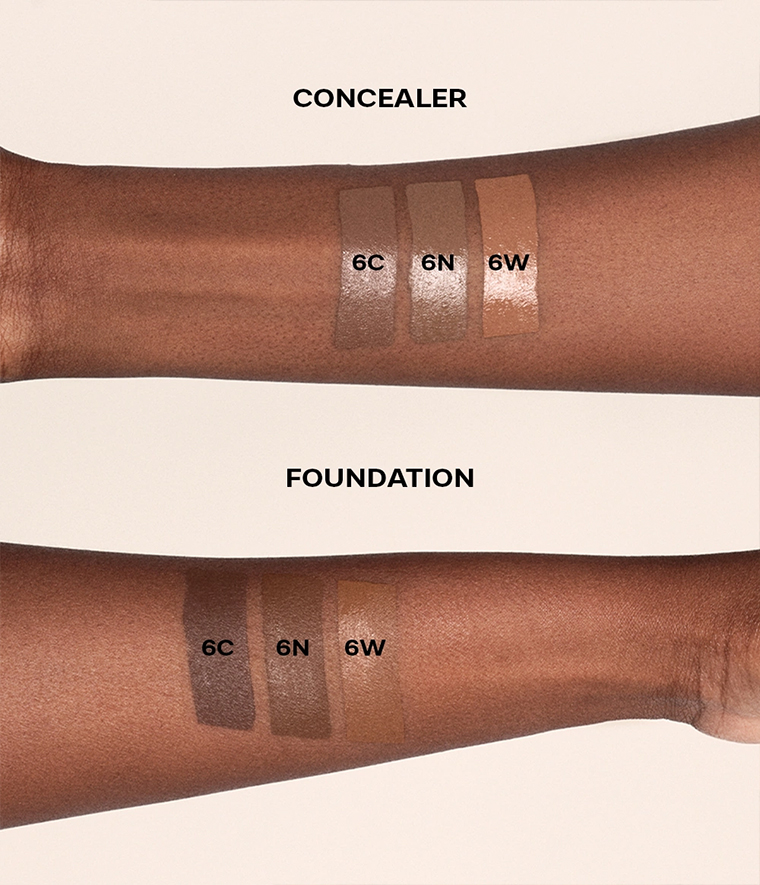 CAIA It's Iconic Foundation & Concealer Swatches 6C 6N 6W