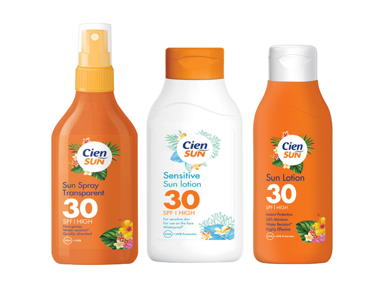 Cien Sun Sun Spray Transparent, Cien Sun Sensitive Sun Lotion, Cien Sun Lotion SPF 30